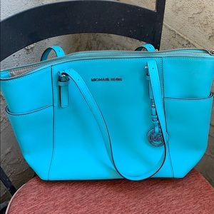 Authentic Michael Kors blue purse medium size